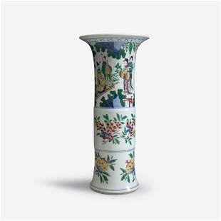 A Chinese wucai-decorated porcelain beaker vase