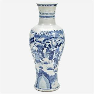 A Chinese blue and white porcelain tall baluster vase