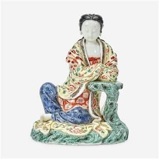 A Chinese enameled Dehua porcelain figure of Guanyin