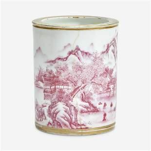 A Chinese puce-enameled porcelain cylindrical brush pot