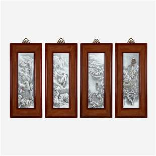 A suite of four Chinese enameled porcelain panels