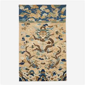 """A large kesi tapestry """"Dragons"""" panel"""