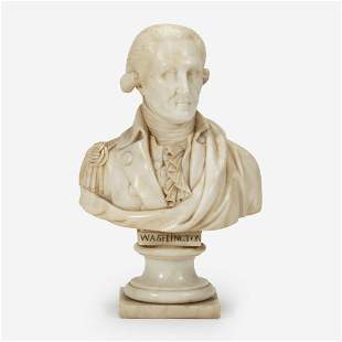 A small marble bust of General George Washington