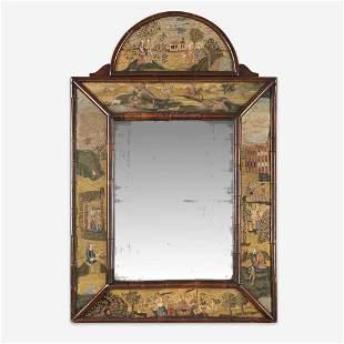 A Queen Anne style needlework and burl walnut mirror