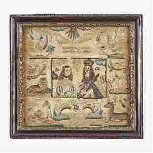 A Charles II commemorative embroidered panel England,
