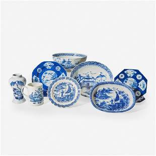 A group of ten English soft paste porcelain blue and