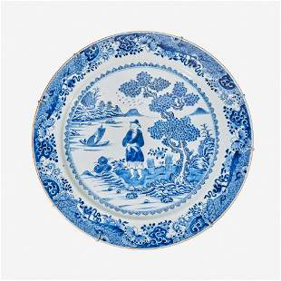 A large Chinese porcelain blue and white charger late