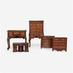 A group of five miniature furniture items 19th century