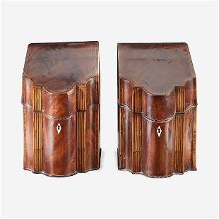 A pair of George III inlaid mahogany knife boxes late