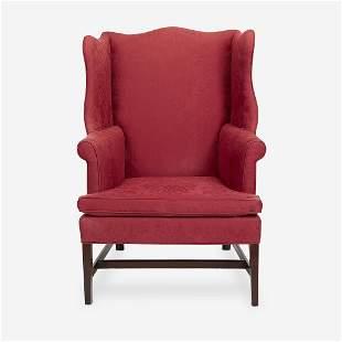 A Federal upholstered mahogany easy chair Philadelphia,