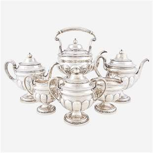 A Classical six-piece sterling silver tea and coffee
