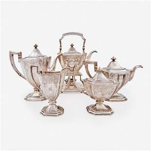 A Classical style five-piece sterling silver tea and