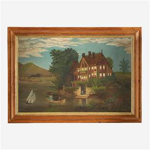 American School 19th century River Landscape with View