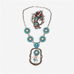 """Two Zuni silver and stone inlaid """"Kachina"""" jewelry"""