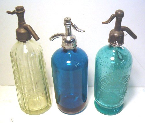 2002: THREE PIECE COLORED GLASS SELTZER BOTTLES early 2