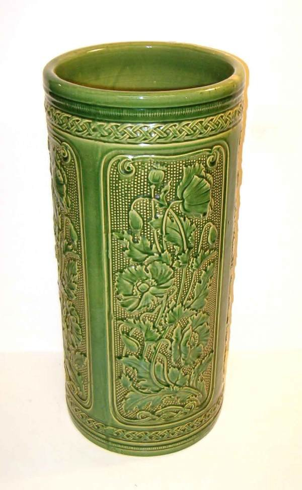 2005: Green Pottery Umbrella Stand, early 20th c., With