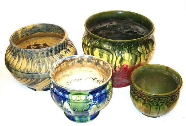 2007: Four piece Majolica Style Pots, 20th c., In vario