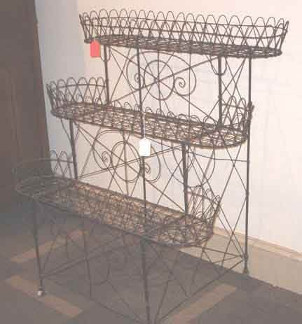 2010: VICTORIAN THREE TIER WIRE PLANT STAND late 19th c