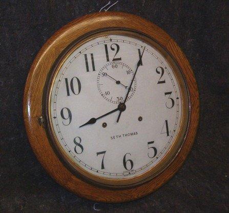 2022: Circular Oak Case Wall Clock, 19th / 20th c., By