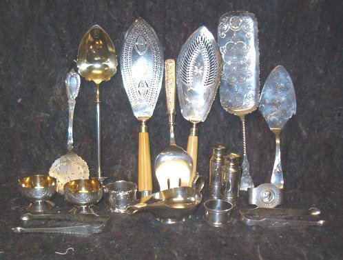 2153: Seventeen piece Assorted Sterling and Coin Servin