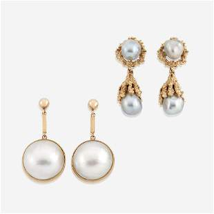 Two pairs of cultured pearl and gold earrings