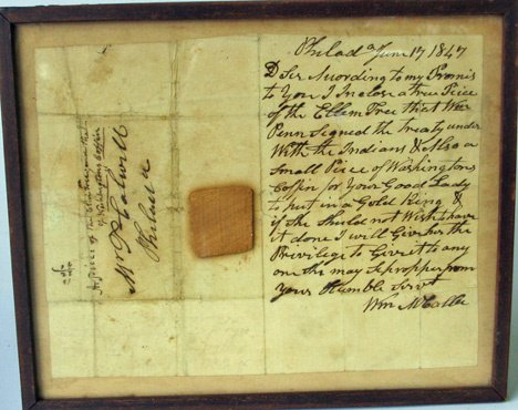 4002: Framed letter with piece of the treaty elm, dated