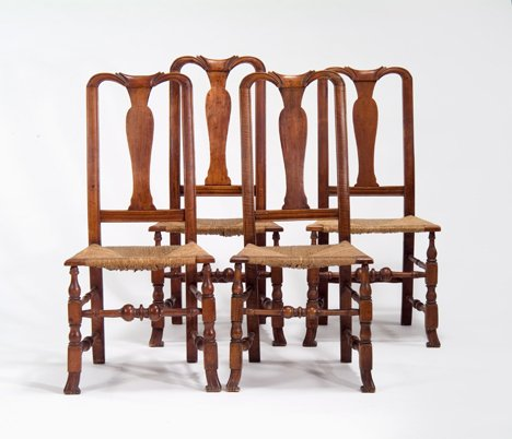4003: Four queen anne rush-seat side chairs, new englan