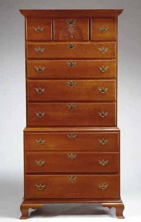 4011: CHIPPENDALE CHERRYWOOD CHEST-ON-CHEST New England