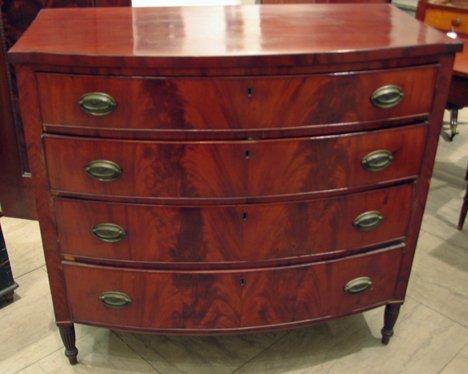 4015: Late federal mahogany and mahogany veneer bow fro