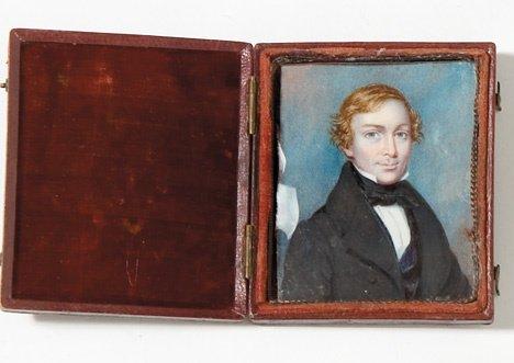 4018: English school 19th century, miniature portrait o