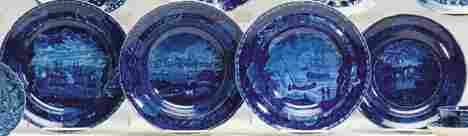 4048 Four Staffordshire historical blue transferware p