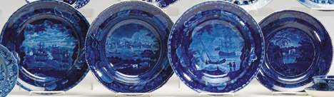 4048 Four Staffordshire historical blue transferware p