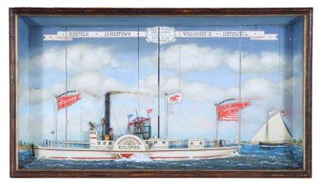 4165: Shadowbox with side wheel steamer Eclipse on the