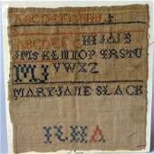4207: Needleworked Sampler, mary jane slack, pa., 19th