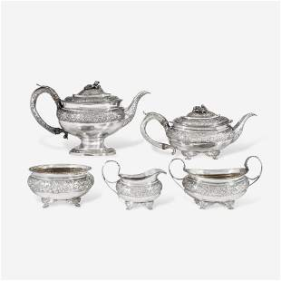A George III Sterling Silver Five-Piece Coffee and Tea