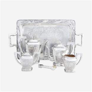 A Chinese Export Silver Five-Piece Tea and Coffee