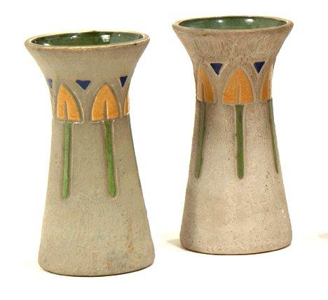 1002: Pair Roseville Mostique pottery vases, ,