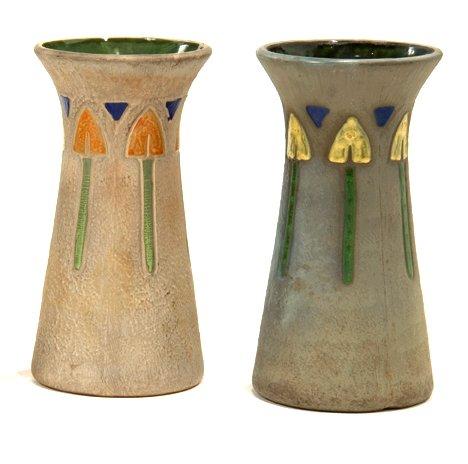 1003: Pair pottery vases, 20th century, Roseville Mosti