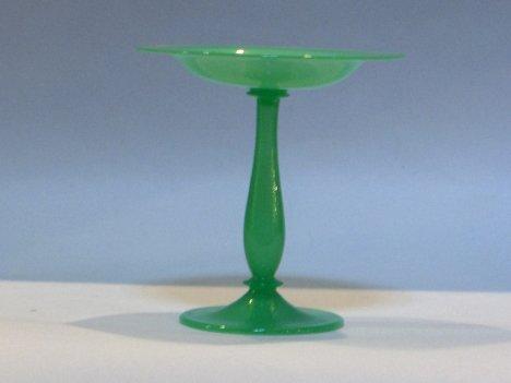 1013A: Steuben green tazza, acid stamped, ,
