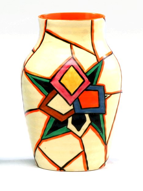 "1121: Clarice Cliff Latona"" stained Isis vase, ,"""
