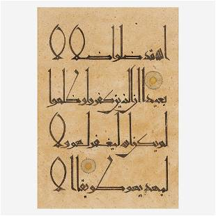 Two folio sheets with Kufic calligraphy 库法