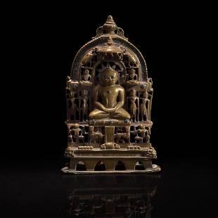 An Indian silver-inlaid brass Jain Shrine 印