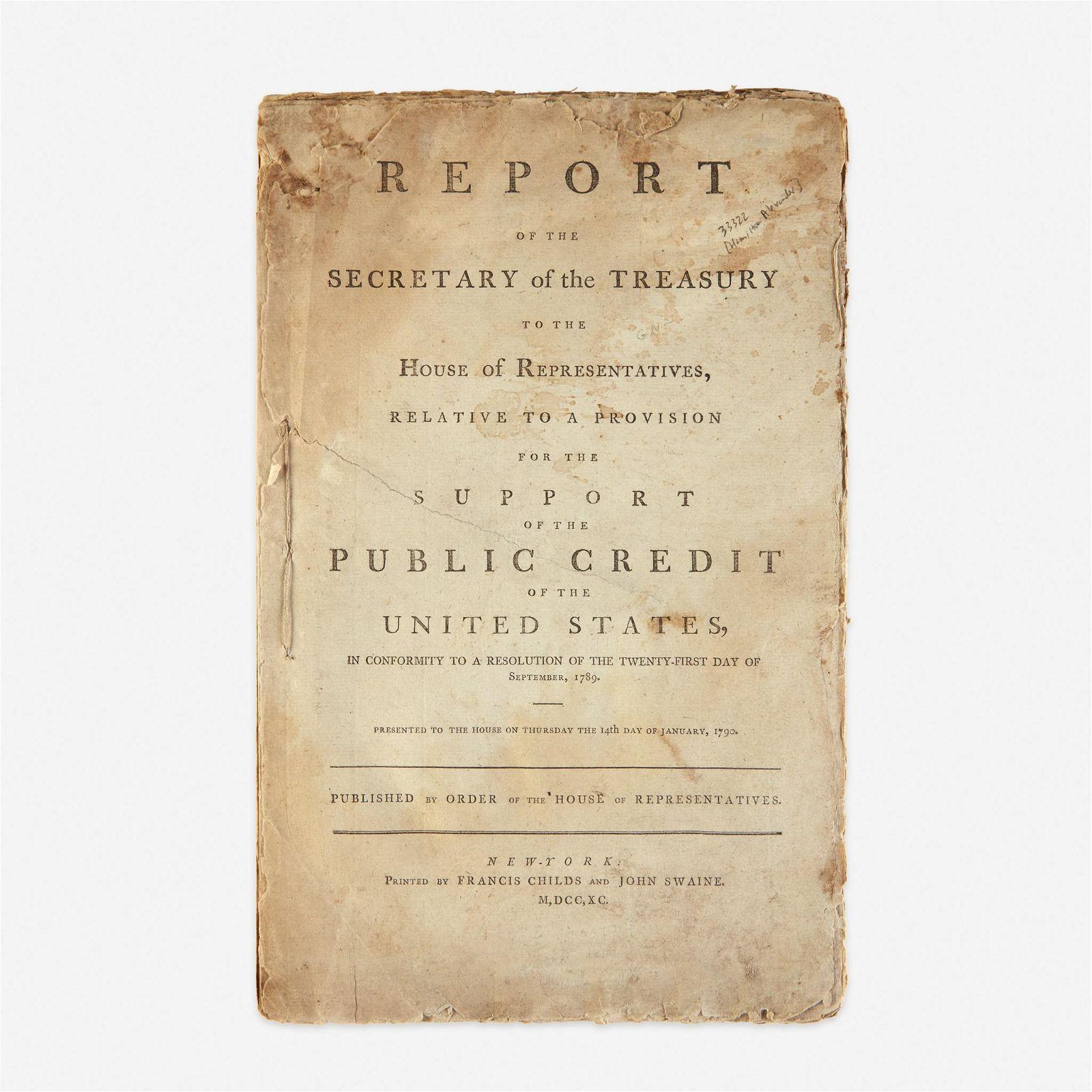 [Hamilton, Alexander] [Public Credit] Report of the