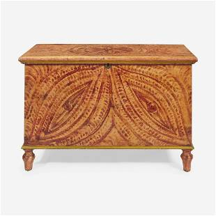 A painted and faux-grained blanket chest Attributed to
