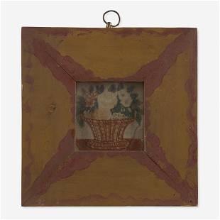 American School 19th century Miniature Theorem: Basket