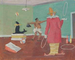 """ANGELO PINTO, """"Circus Performers"""" Oil on"""
