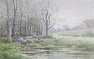 CARL WEBER (American 1850-1921) SHEEP BY A