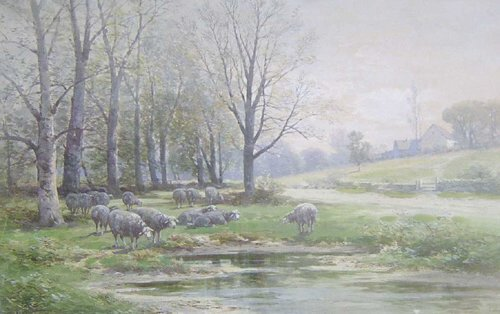 4: CARL WEBER (American 1850-1921) SHEEP BY A