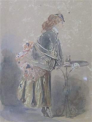 AMERICAN SCHOOL (19th Century) LADY IN WA