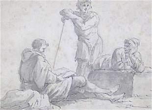 ITALIAN SCHOOL (18th Century) FIGURES AT